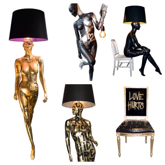 Statue lamps, chair, women shaped chandelier by Jimmie Martin